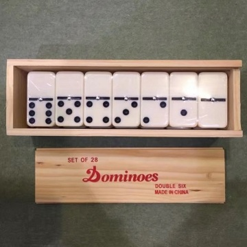 Wooden Box Double 6 Dominoes Set