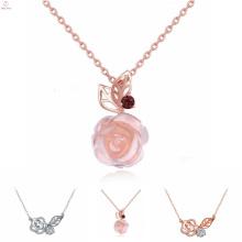 Damenmode Sterling Silber Schmuck Zirkon Rose Halskette, Rosa Quarz S925 Sterling Silber Rose Halskette