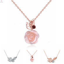 Women Fashion Sterling Silver Jewelry Zircon Rose Necklace, Pink Quartz S925 Sterling Silver Rose Necklace