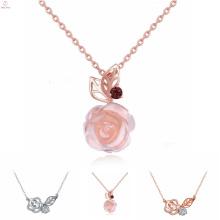 Женская Мода Ювелирные Изделия Стерлингового Серебра Циркон Розовое Ожерелье, Розовый Кварц S925 Стерлингового Серебра Роуз Ожерелье