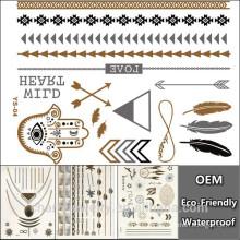 Productos del fabricante de la belleza del cuerpo del sexo del OEM Tatuaje temporal Tatuaje metálico del diseño de la manera de la venta caliente de las pulseras de la etiqueta engomada