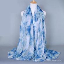 Bufanda del mantón del diseño floral del precio al por mayor de China que imprime la bufanda llana de la gasa del algodón