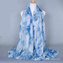 China wholesale price floral design shawl scarf printing plain cotton voile scarf
