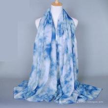 Китай Оптовая цена цветочный дизайн шаль шарф печать гладкая хлопчатобумажная вуаль шарф