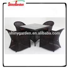 5pcs Aluminium rattan table and chair set, restaurant dining set, 5pcs rattan sofa furniture