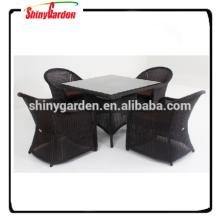 Алюминий ротанга 5pcs стол и набор стульев, ресторан Обедая комплект, 5шт ротанга диван мебель