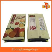 Calor selado saco de papel personalizado gusset lado para embalagem de frutas secas com folha interior