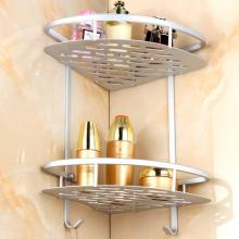 2-Tier Shelf Basket Aluminum Corner Shelves