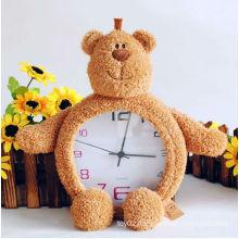 lovely interesting plush bear clock toy