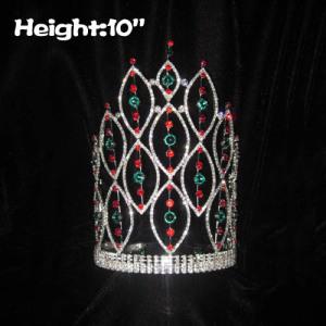 Coronas de concurso de espiga de 10 pulgadas con diamante rojo y verde