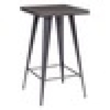 Industrial High Square Natural Metal Bar Table