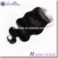 Cierre vendedor caliente sin procesar del cordón del pelo humano de la Virgen brasileña caliente 4 * 4 pulgadas que envía rápido