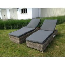 Muebles al aire libre de mimbre de jardín Patio rota conjunto tumbona