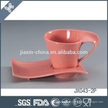 043-2P180CC taza y platillo de café de cerámica