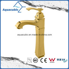 Polished Gold High Body Brass Bathroom Basin Mixer Water Tap