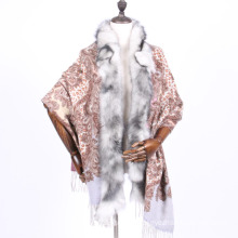 100% cashmere scarf shawl with fur trim
