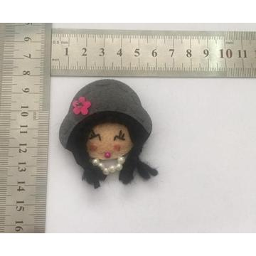 Cute Little Girl Pin with Fabric