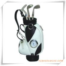 Werbegeschenke für Golf Stifthalter mit Uhr