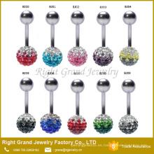 Crystal Double Disco Ball Shamballa Body Jewelry ombligo ombligo anillo