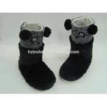 China Großhandel Innen-Slipper Stiefel Tier Stiefel für Kinder PV Plüsch Panda schwarze Slipper Stiefel