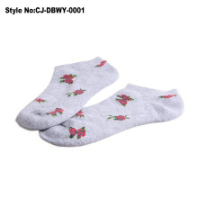 Durable Shoe Sock, Woman Sport Sock with Flower Knitting