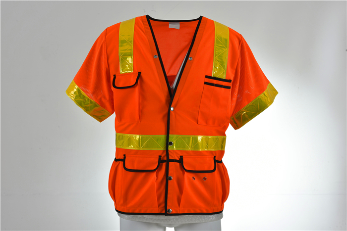 Security Orange reflective traffic Class 3 Mesh Safety Vest