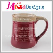 Red Ceramic Cup Contrast Color Paint Wholesale