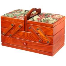 Cantilever Wooden Sewing Chest with Tapestry