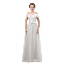 Vestido de noche gris 2018 hecho a medida hombro mujer vestido de noche con la longitud del piso
