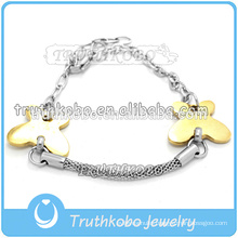 Hot sell fashion lady accessories & Jewelry 2016 hollow out stainless steel two color butterfly charm bracelet for female