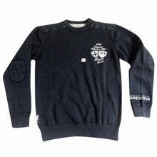 Stonewashed Men's Sweater with Patches and Embroidery