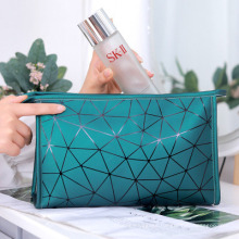 Diamond Grid PU Leather Cosmetic Bag Travel Toiletry Bag Cosmetic Storage Bag Makeup Bags