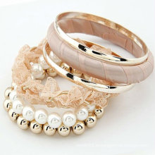 Sweet Pink Multilayers Lace Bangles Pearl Brazaletes Pulseras BA40