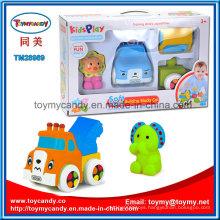 DIY Cartoon Animal Soft Plastic Building Block Car Toy Set