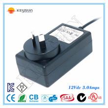 KS1203000 saa certificado fuente de alimentación llevada 12v 3a adaptador ac / dc 36 vatios