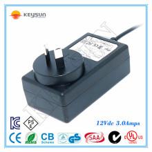 KS1203000 saa alimentation d'alimentation certifiée 12v 3a adaptateur ca / cc 36 watt