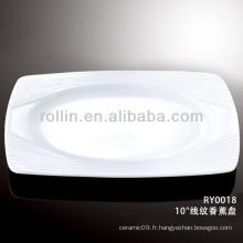 Plaque rectangulaire en porcelaine blanche spéciale spéciale et saine