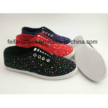 Full Color Lace-up Women Canvas Injection Shoes with Cheap Price, Footwear Loafer
