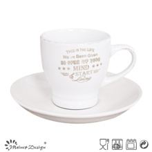 3oz Cup and Saucer with Brushed Rim and Silkscreen Words