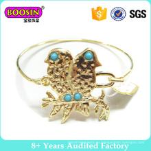 Pulsera de oro doble de la moda del brazalete del alambre de metal de los pájaros 18k dorado # 31190