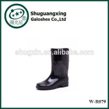 Botas de lluvia transparente de calidad hombre lluvia BootsPVC para zapatos de la lluvia de fondo plano para hombre moda R079 W