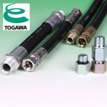 High pressure hydraulic hose for construction industry made of rubber. Manufactured by Togawa Rubber Co., Ltd. Made in Japan