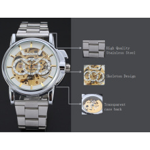 winner men watch with visible mechanism small dial watch with stainless steel band