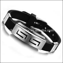 2015 O novo Lifestyle personalizado aço inoxidável pulseiras de silicone para os homens PH806
