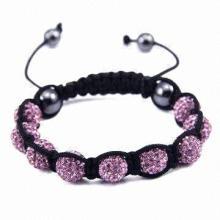Beaded Braided Bracelet, Made of Sticky Mud and Colorful CZ Diamond by Handmade