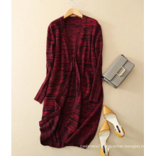 Women v neck thick pure cashmere cardigan long coat with assorted/mixed colors fashion coat no buttons