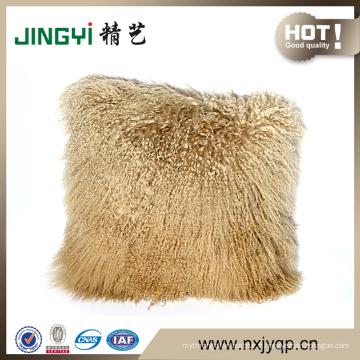 Housse de coussin en fourrure d'agneau mongol tibétain