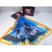 custom digital print scarf small MOQ polyester fabric printing colorful coconut tree pattern