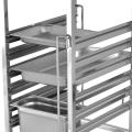 Chariot à casseroles GN à une ligne en acier inoxydable avec panneau supérieur