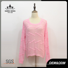 Ladies Pink Long Sleeve Knit Sweater